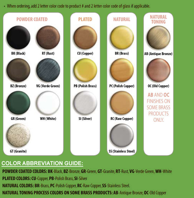 Outdoor Accessories Unlimited Color Chart